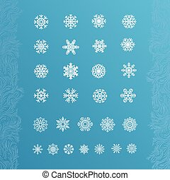 Set of white snowflakes on a blue background