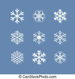 Set of white snowflakes on blue