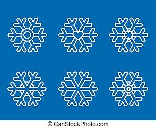 set of white snowlakes icons