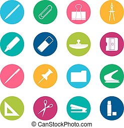 Set of white stationery icons on color background, vector illustration