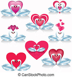 Set of white swans with hearts, vector