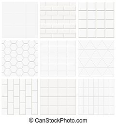 Set of white tiled texture, vector backgrounds.