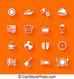 Set of white travel icons. Vector travel icons in flat...
