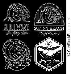 Set of white vector pattern on black background on the subject surfing, ocean, rescue on water