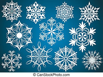 Set of white vector snowflakes isolated on dark blue background.
