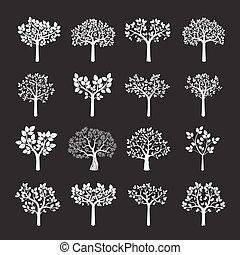 Set of white vector trees.