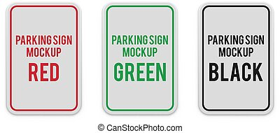 Set of white vertical parking attention signs.