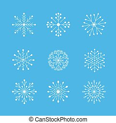Set of white winter snowflakes on a blue background.