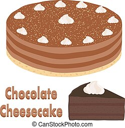Set of whole chocolate pie and slice of cheesecake.