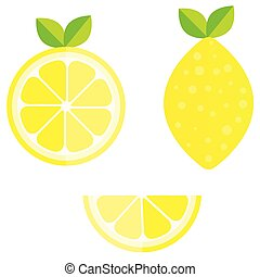 Set of whole, cut in half, sliced on pieces fresh lemons, leaves and flowers, twisted lemon peel hand drawn vector illustration isolated on white background.