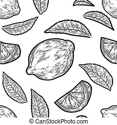 Set of whole lemon, slice and leaf. Seamless pattern. Sketch scratch board imitation. Black and white.