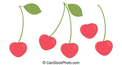 Set of whole ripe cherries berries on a white background. Vector.