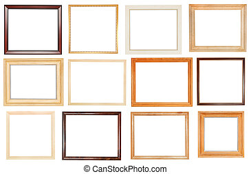 set of wide wooden picture frames with cut out canvas...