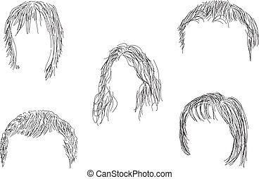 Set of wigs - Painted set of black wigs.