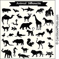 Set of Wild and Farm Animals Silhouettes