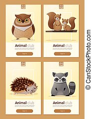 Set of Wild animal templates for web design 3