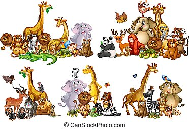 Set of wild animals in groups on white background