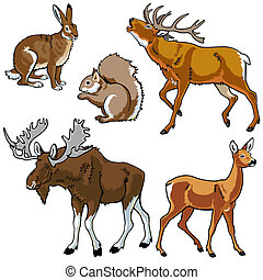 set with wild animals of european forest , images isolated on white background