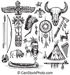 Set of wild west american indian designed elements.: bear, ...