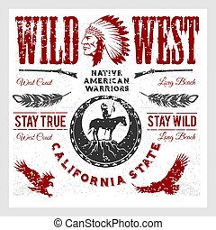 Set of wild west american indian designed elements. ...