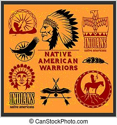 Set of wild west american indian designed elements....