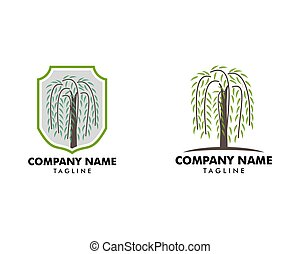 Set of Willow Tree Symbol Logo Vector