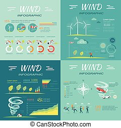 Set of Wind Infographics Vector Illustrations