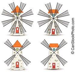 Set of windmills. Vector