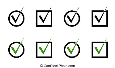 set of windows. Round and square cells for voting. A check mark, a mark about the choice made. Isolated vector on white background