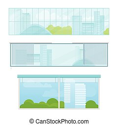 Set of Windows Vector Illustrations In Flat Style.