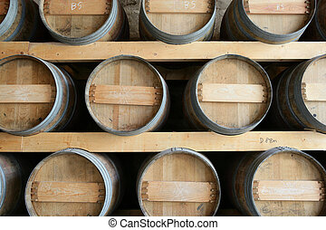 Set of wine barrels