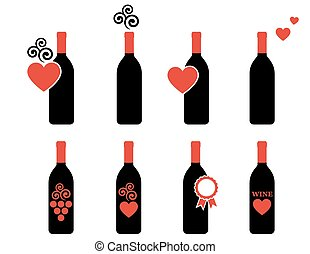 set of wine bottle with design element