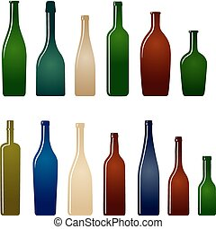 set of wine bottles