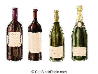 Set of wine bottles isolated on white background. Vector illustration.