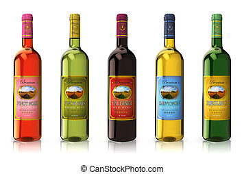 Set of wine bottles with different sorts of red and white wine isolated on white reflective background *** Design of these bottles and photo used here are MY OWN, all text labels are fully abstract, %u201Ccabernet%u201D, %u201Csauvignon%u201D, %u201Criesling%u201D, %u201Cpinot noir%u201D, %...