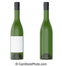 Set of wine bottles with empty blank isolated on white background. 3d rendering