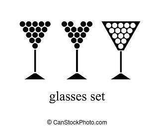 set of wine glasses. vector