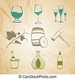 Set of wine items