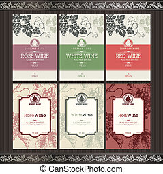 Set of wine labels  - Set of wine label templates