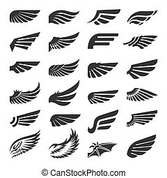 Set of wing signs design elements