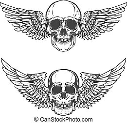 Set of winged skulls isolated on white background. Design elements for poster, t-shirt,  emblem, sign. Vector illustration