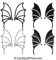 set of wings of the devil or the dragon. The element for the logo, emblem
