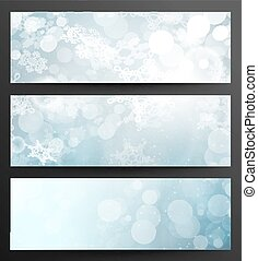 Set Of Winter Abstract Snowflakes Banners