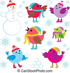 Set of winter birds and snow man - Vector illustration. It ...