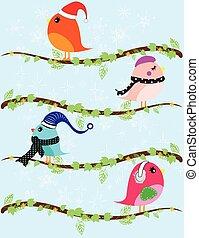 Set of winter birds