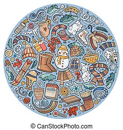 Set of Winter cartoon doodle objects, symbols and items