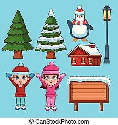 Set of winter cartoons