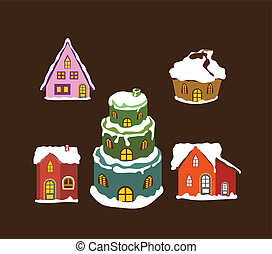 set of winter christmas house