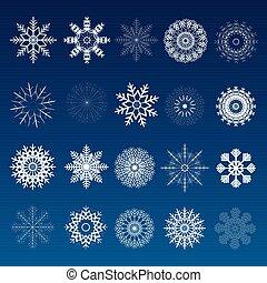 Set of Winter Christmas Snowflakes