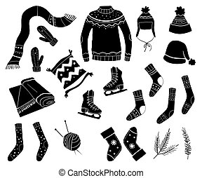 Set of winter clothes, sweater, hat, scarf, skates, socks. Black silhouettes of outerwear isolated on white background.